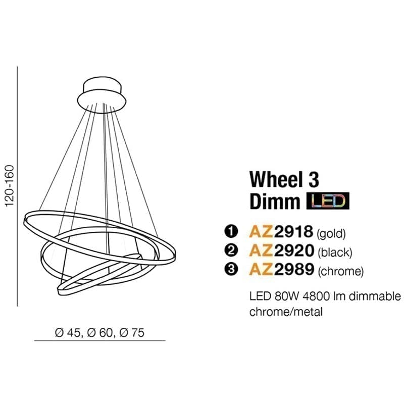 Pakabinamas LED šviestuvas Wheel 3 DIM