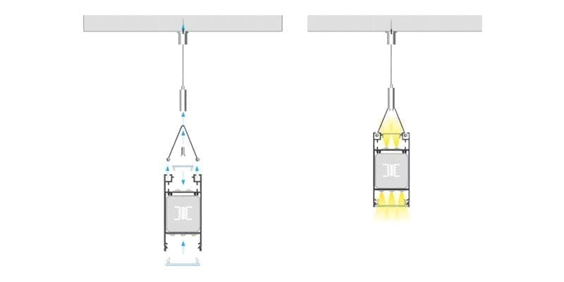 Pakabinamas LED profilis DULIO montavimas