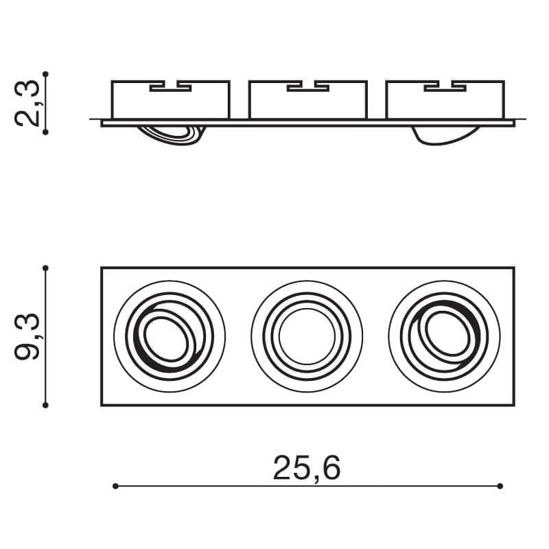 Įmontuojamas kryptinis šviestuvas Caro 3 Aluminium