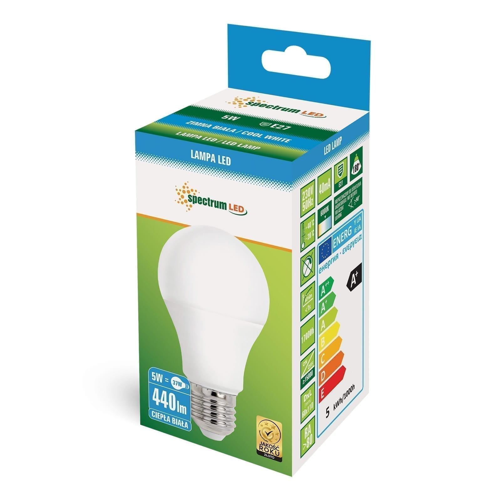 5W E27 LED lemputė GLS balta