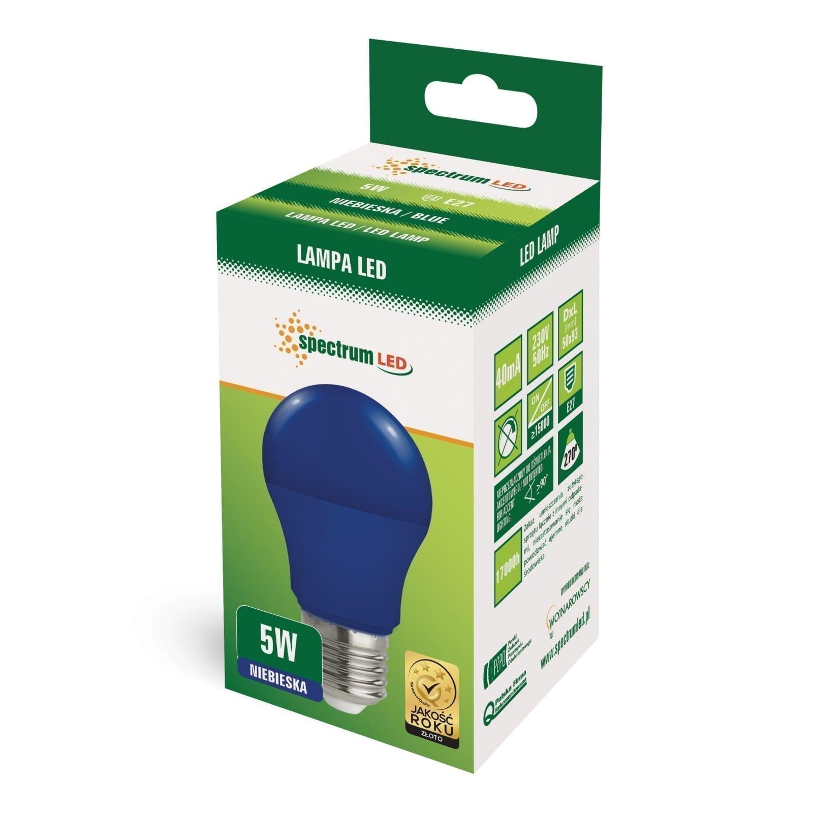 5W E27 LED lemputė GLS mėlyna