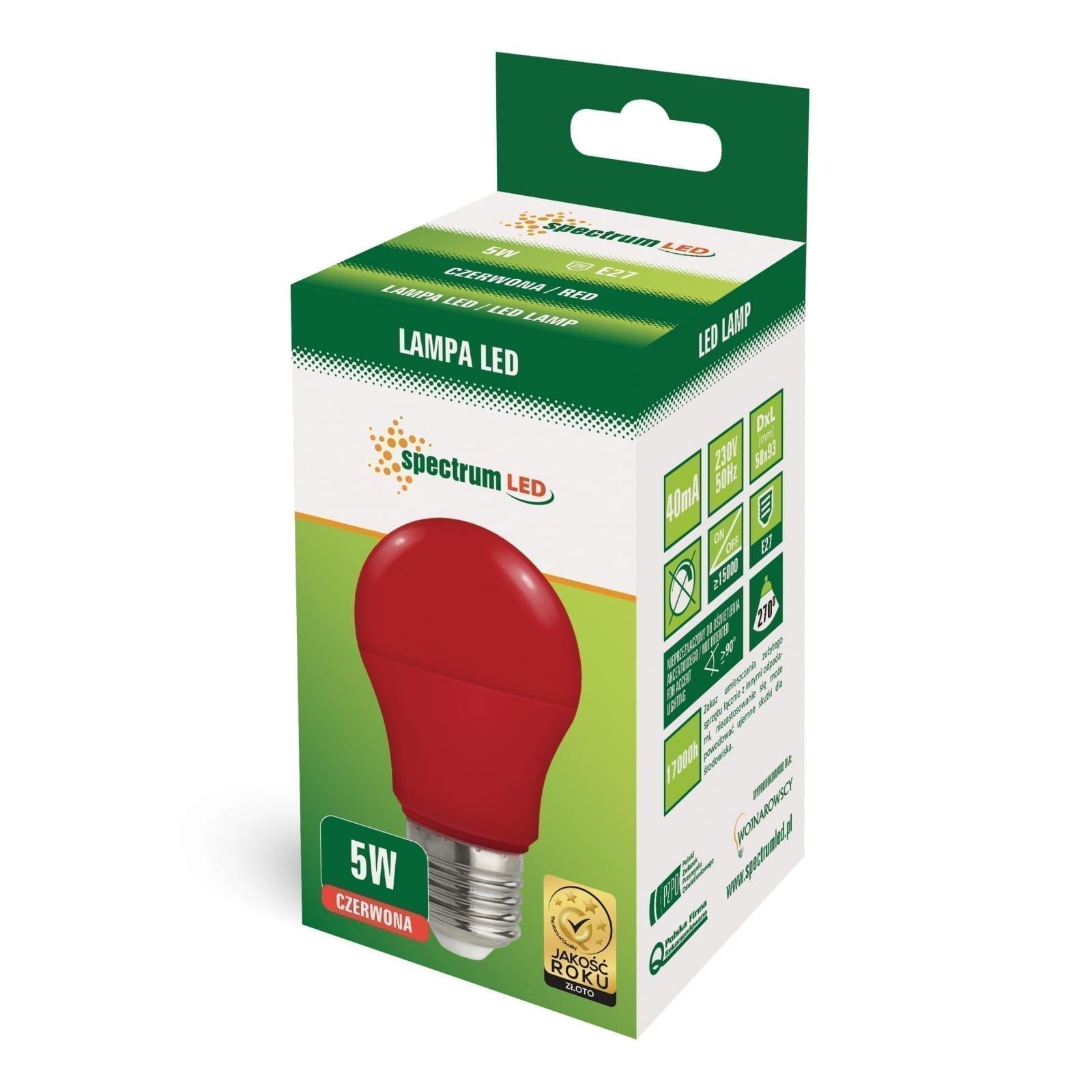 5W E27 LED lemputė GLS raudona