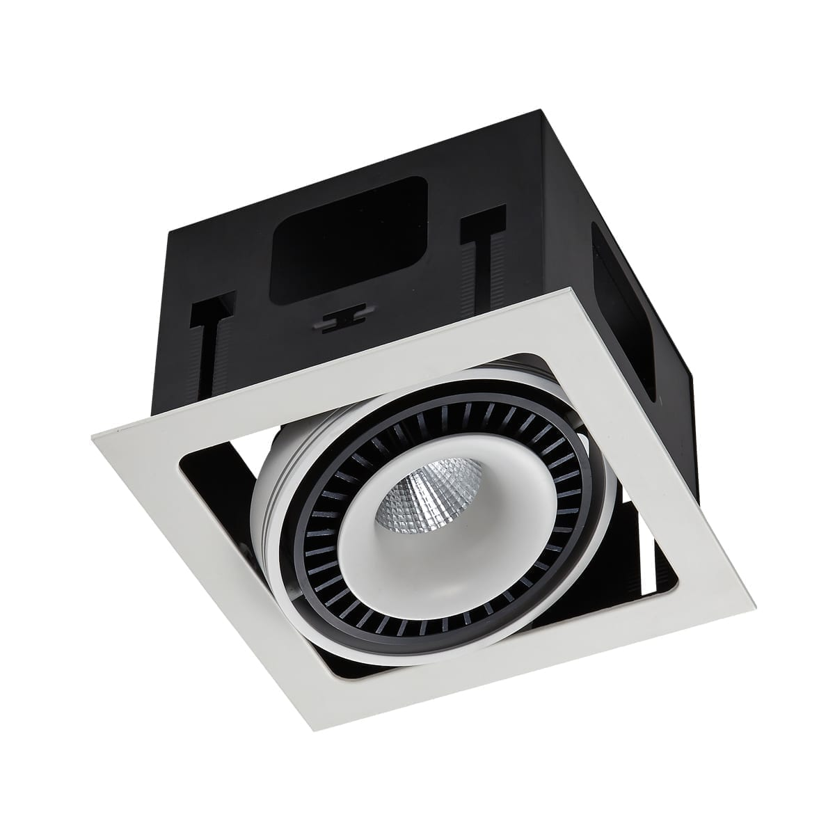 Įmontuojamas kryptinis šviestuvas Alesso 1 - modernaus dizaino baltos spalvos kryptinis įmontuojamas šviestuvas su integruota LED lempute. Šviesos šaltinis gali būti nukreipiamas į norimą padėtį. Maksimali rekomenduojama lemputės galia 18W. Šviesos spalva 3000K, o apšviečiamas plotas yra 7-9m². Šviestuvų kūrėjai pagal vieną dizainą stengėsi sukurti kelis šviestuvų variantus, kad juos derinant vienoje erdvėje susidarytų darnus vaizdas. Neretai įsigijus vieną šviestuvą sunku prie jo pritaikyti kitą šviestuvą, tačiau įmonės Italux atstovai tai apgalvojo. Alesso yra vienos žinomiausių Lenkijos šviestuvų gamintojų įmonės Italux produktas. Šios įmonės gaminami šviestuvai pasižymi inovatyviom idėjom, išskirtiniu dizainu bei pačia aukščiausia kokybe. Spalvų deriniai atrinkti taip, jog šviestuvą būtų galimą pritaikyti prie bet kokio interjero dizaino.