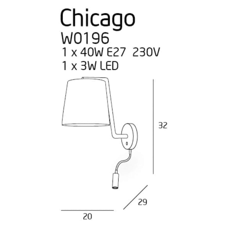 Sieninis šviestuvas Chicago WH + LED