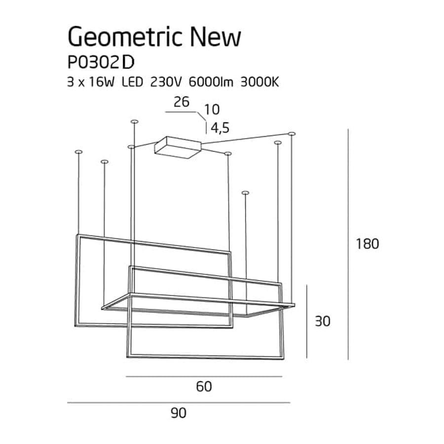 Pakabinamas LED šviestuvas Geometric New P0302D