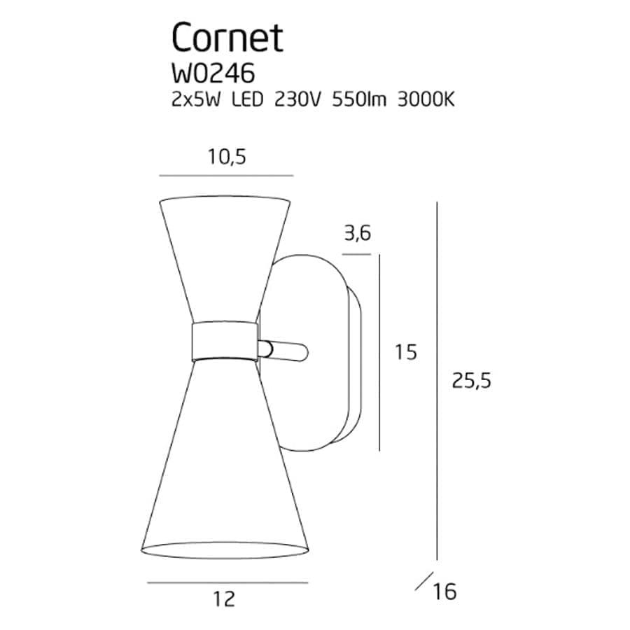 Sieninis LED šviestuvas Cornet
