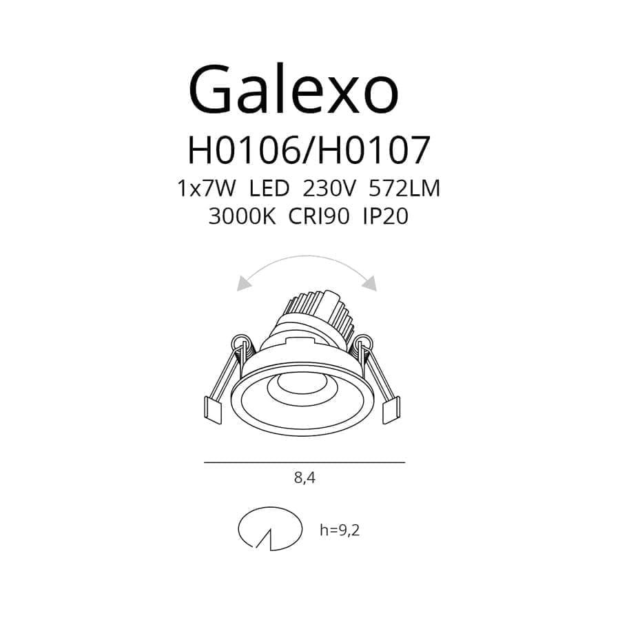 Įmontuojamas kryptinis LED šviestuvas Galexo WH