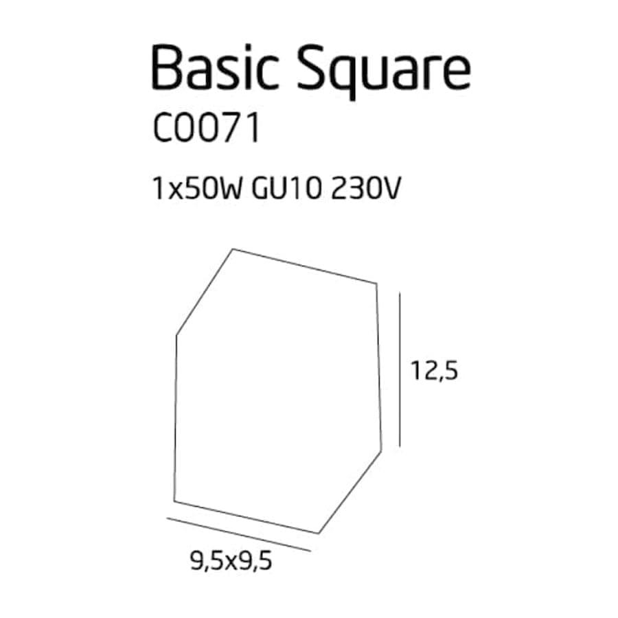 Lubinis kryptinis šviestuvas Basic Square BK