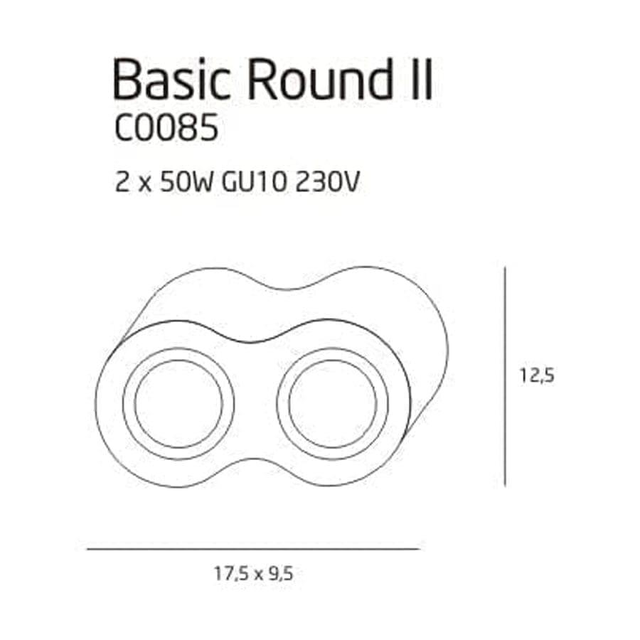 Lubinis kryptinis šviestuvas Basic Round 2 WH