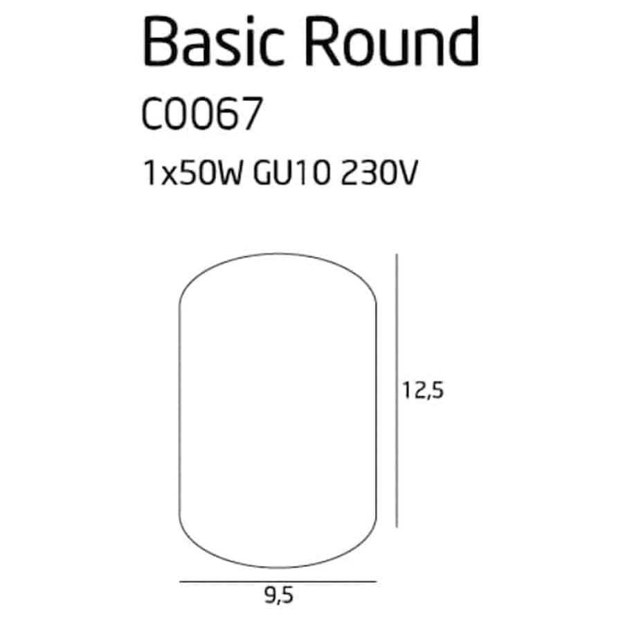 Lubinis kryptinis šviestuvas Basic Round WH