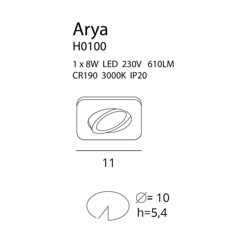Įmontuojamas kryptinis LED šviestuvas ARYA SQUARE WH