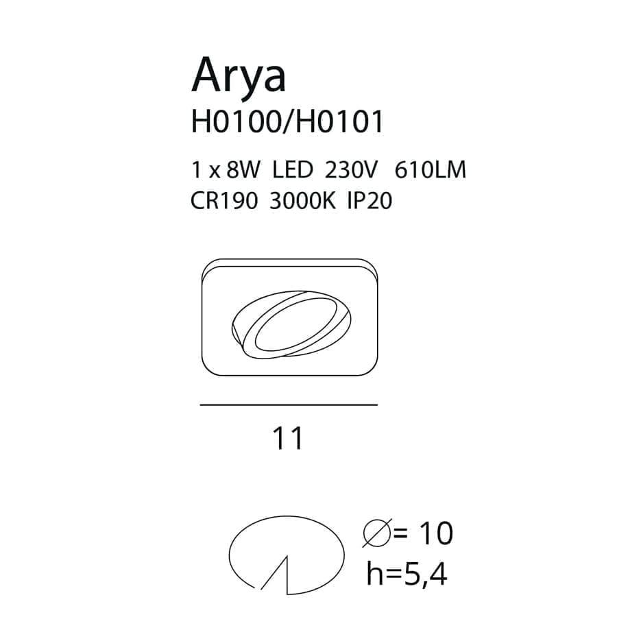 Įmontuojamas kryptinis LED šviestuvas ARYA SQUARE BK