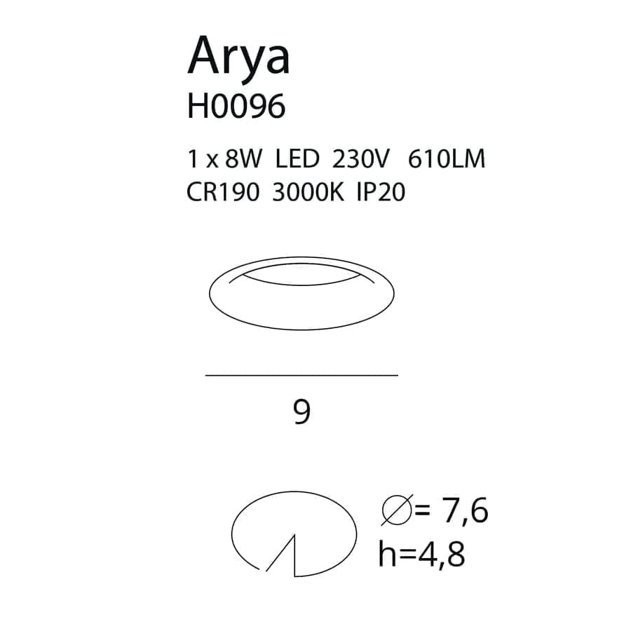 Įmontuojamas LED šviestuvas Arya Fixed WH