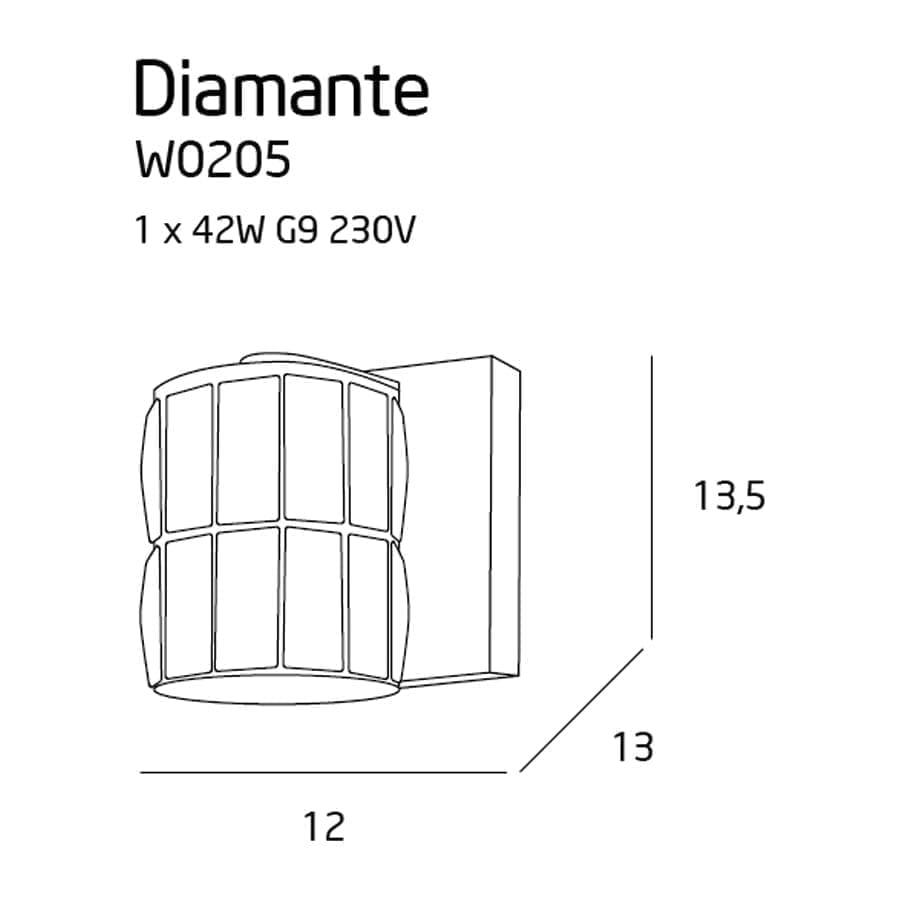 Sieninis šviestuvas Diamante A2
