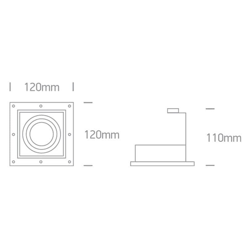 Užglaistomas kryptinis šviestuvas 51105TR/W matmenys
